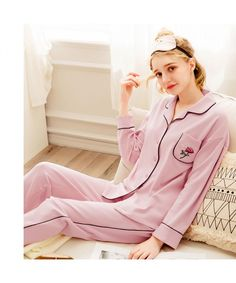 97938d2b72 long sleeved women s cotton pink pajama sets for spring and Autumn Cotton  Sleepwear