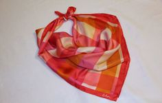 Echo Silk Scarf vintage pink orange plaid by TheSassySewer on Etsy, $18.95