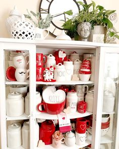 "LILIANA✨HOME DECOR & PARTIES on Instagram: ""Finished decorating my hutch for Valentine's Day. Some friends asked if it's all valentines, no most of it is Christmas and basic canisters…"""