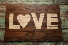 Large Wood Sign - distressed - LOVE