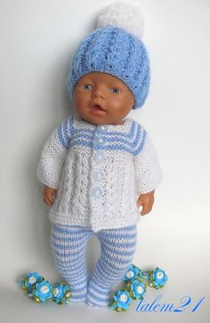 Baby Born Knitting Dolls Clothes, Crochet Doll Clothes, Sewing Dolls, Doll Clothes Patterns, Baby Born Clothes, Bitty Baby Clothes, Girl Doll Clothes, Baby Cardigan Knitting Pattern Free, Baby Knitting Patterns