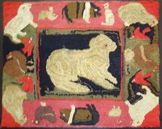 Folky Pictorial Mounted Hand Hooked Rug From Pennsylvania | From a unique collection of antique and modern rugs at https://www.1stdibs.com/furniture/folk-art/rugs/