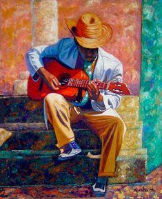 The Guitar Player by Jose Manuel Abraham Jazz Painting, Guitar Painting, Guitar Art, African American Art, African Art, Jazz Art, Caribbean Art, Black Love Art, Blue Art