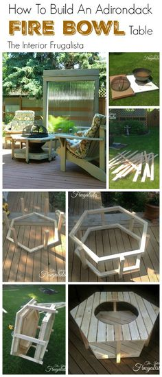 DIY Adirondack fire bowl table - a great alternative to a firepit that fits easily on a deck or small patio. Fire Pit On Wood Deck, Pallet Fire Pit, Fire Pit Backyard, Cozy Backyard, Fire Pit Furniture, Outdoor Furniture Sets, Outside Living, Outdoor Living, Outdoor Rooms