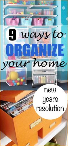 9 ways to organize your home.  Creative and simple organizing tips.  Home improvements using baskets and containers.