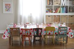 Old Sunday School table, litte vintage chairs in different colors.  The Macs » Blog