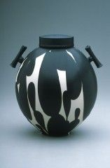 Black and white lidded jar with handles, Porcelain, 12 in. tall, from Sam Scott Pottery.