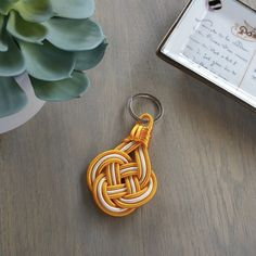 Preppy nautical knot keyring in Orange Gold / Sunshine / Easy to find / Gift for the car collector / Gifts for the college student / Beach