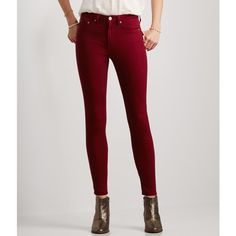 Aeropostale Seriously Stretchy Color Wash High-Waisted Jegging featuring polyvore fashion clothing pants leggings hawaiian orchid high waist zipper leggings denim leggings aeropostale pants stretch denim leggings zipper leggings