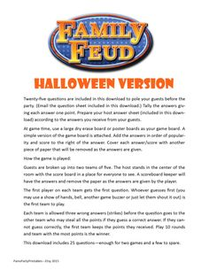 Halloween Family Feud - Printable Game - Halloween Party Game - Instant Download by PamsPartyPrintables on Etsy