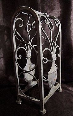 VERDI GRIS WROUGHT IRON WINE RACK - Arch Design with Flowering Urns 3 Bottles & 4 TIERED SERVING TRAY - Red Twisted Wrought Iron Stand w/Stoneware ...