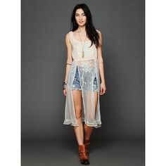 Free People Simply Sheer Embroidered Maxi ($168) via Polyvore