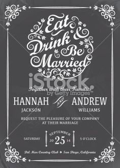 Eat Drink and Be Married Invitation Royalty Free Stock Vector Art Illustration