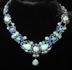 Signed 1958 Christian Dior by Henkel & Grosse Marbled Turquoise Glass and Rhinestone  Necklace Runway | eBay