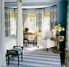 these shades are not pulled up to the rod, but the dead space is somewhat camouflaged by the papered walls that match the curtains, which match the shades – tying it all in together