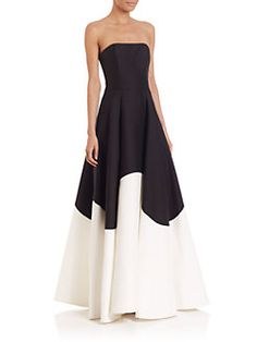 Halston Heritage - Strapless Colorblocked Gown