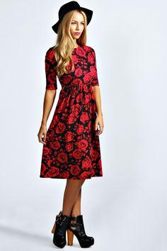 Mila Rose Print Midi Dress at boohoo.com