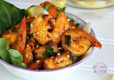 Sweet & Spicy Shrimp (shrimp, soy sauce, mirin, scallions, garlic, ginger, red pepper flakes, sesame seeds, sesame oil, gochujang)