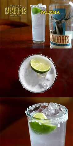 The Cazadores Paloma   1 part Tequila Cazadores Blanco 2 parts grapefruit soda  Splash of lime juice   Pour ingredients over ice in a tall, salt-rimmed glass; garnish with a lime wedge.