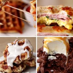 Featuring Pizza Waffles, Box Brownie Waffle Sundae, Ham & Cheese Panini Waffle and Cinnamon Roll Waffles Breakfast Dishes, Breakfast Recipes, Waffle Maker Recipes, Foods With Iron, Good Food, Yummy Food, Recipes Appetizers And Snacks, Brunch, Sweet Recipes