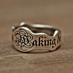 word ring initial ring name ring mens ring vintage ring Vintage Silver Rings, Silver Jewelry, Fine Jewelry, 925 Silver, Sterling Silver, Men's Jewelry, Gold Jewellery, Yoga Jewelry, Glass Jewelry