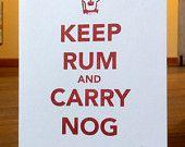 Keep Rum and Carry Nog - Set of 4 mingler pack. $16.00, via Etsy.