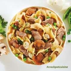 Crock-Pot® Cuisine Beef Stroganoff with Ribbon Pasta -- if you're craving comfort food, you'll love this dish. Made with tender chunks of seasoned beef in a creamy stroganoff sauce and ribbon pasta with mushrooms, peas and pearl onions. #CrockPot #SlowCooker #CrockPotCuisine #recipe #cooking