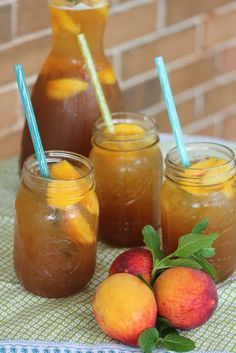 Peach Tea Fizz Recipe ~ This tea doesn't contain any alcohol but the added fizz gives it a fun and refreshing twist for summer parties.