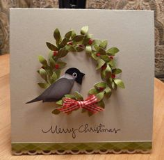 Brown Kraft Paper Card...using bird punch. I could do the same with my Stampin' Up Owl punch