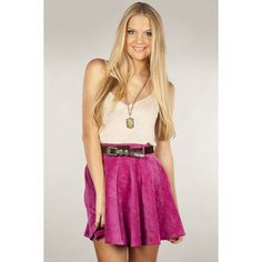 Mink Pink ROLLER DERBY SKATER SKIRT: Dissh loves this hot pink suede skirt. Features a thick waistband with belt loops and cute circle skirt. Invisible zip at back. 100% Polyester Skirt.