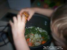 """Egg Drop"" Alphabet Soup: a preschool cooking activity to accompany Scott Gustafson's Alphabet Soup"