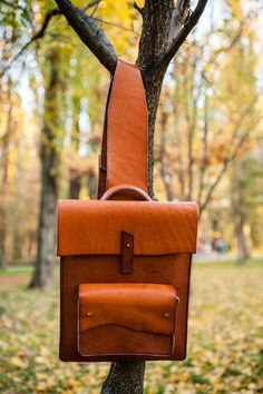 Leather Backpack / Casual / Unique backpack / Brown Leather /