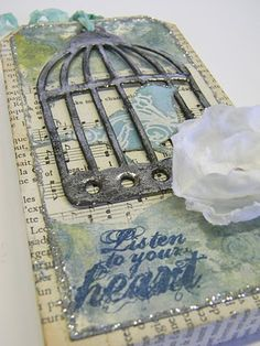 Stamptramp: Tag Tuesday - Fabric, Wednesday Stamper - Music, Plus a Tut!