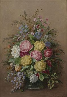 ROSES AND SUMMER FLOWERS by Albert Durer Lucas, 1828-1918