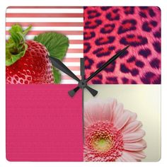 Girly Square Collage Strawberry Leopard Flower Square Wall Clock - girly, collage, leopard, animal print, floral, flower, flowers, strawberry, fruit, stripe, stripes, striped, colorful, multicolor, pattern, print, design, pink