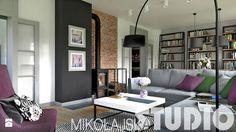 projekty salonów z kominkiem Salon - zdjęcie od MIKOŁAJSKAstudio
