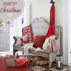 Home Shabby HomeCountry Christmas in bianco e rosso