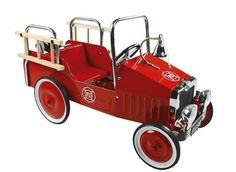 Hop on!! The fire engine's raring to go!! This stunning and stylish metal pedal car from Goki's collection of ride on toys is bound to delight your little firefighter.