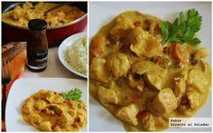 Pollo con curry Korma y mermelada de melocotón