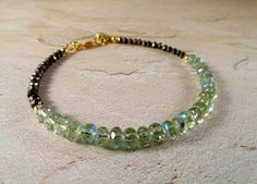 Faceted Czech Glass And Pyrite Bracelet Mojito by JewelrybyPJ