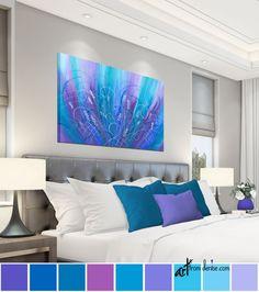 Purple & blue wall art, Abstract flower painting - canvas art print, Turquoise teal magenta, Floral artwork for foyer, bedroom or bathroom #BedroomArt #CanvasArtPrint #FlowerPainting #TurquoiseTeal #ArtworkForFoyer #BluePurpleWallArt #JewelToneLiving #MagentaPink #BathroomWallArt #AbstractFlower Laundry Room Wall Decor, Bathroom Wall Art, Bathroom Ideas, Canvas Art Prints, Canvas Wall Art, Blue Canvas, Jewel Tone Decor, Flower Painting Canvas, Blue Painting