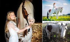 Woman rides the horse she saved from starvation to her wedding