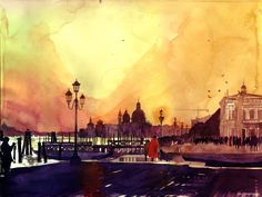 my most favourite city Venezia once again , watercolor on paper, my goal was to make watercolor as colourful as acrylic painting my other works . Sunset in Venezia Watercolor Architecture, Watercolor Landscape, Urban Sketching, Famous Places, Beautiful Paintings, Traditional Art, Painting Inspiration, Design Inspiration, Watercolor Paintings