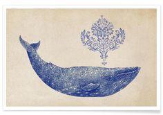 Damask Whale en Affiche premium par Terry Fan | JUNIQE