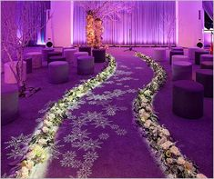 Wedding Aisle Decoration Design #26 | - I love the snowflake look. Less purple, but this would be adorable for a winter wedding.