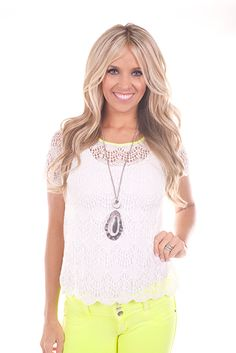 Lime Lush Boutique - White Lace Top with Lime Lining, $26.99 (http://www.limelush.com/white-lace-top-with-lime-lining/)