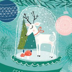 Sweet Christmas illustration by Rebecca Jones Noel Christmas, Vintage Christmas Cards, Christmas Design, Xmas Cards, Winter Christmas, Christmas Crafts, Christmas Decorations, Illustration Inspiration, Illustration Noel