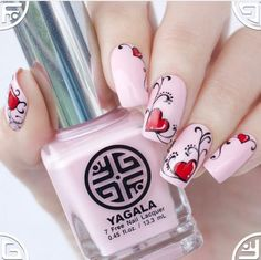 Feel good about yourself and spread some love with your favorite heart nail art among these adorable heart nail designs ideas. Here, check some of them! Heart Nail Designs, Cute Nail Designs, Art Designs, Trendy Nail Art, Cool Nail Art, Glitter Nails, Fun Nails, Pink Glitter, Gold Nails