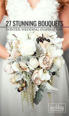 27 Stunning Winter Wedding Bouquets ❤️ Cozy sweaters and half-length coats look chic with any wedding gown and create opportunity for stunning winter wedding bouquets. See more: http://www.weddingforward.com/winter-wedding-bouquets/ #weddings #bouquets