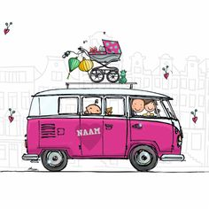 Birth announcement card vwbusje pink with brother and sister Volkswagen Germany, Volkswagen Bus, Vw T1, Vw Camper, Bus Drawing, Car Drawings, Cartoon Drawings, Birth Announcement Girl, Announcement Cards